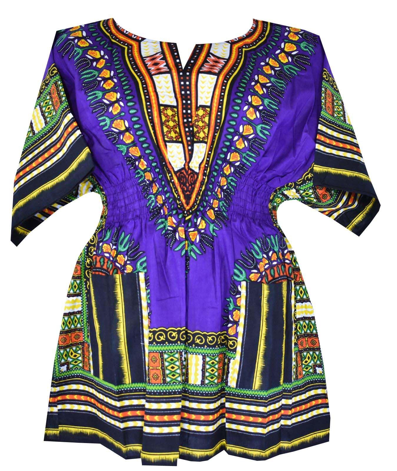 Decoraapparel Womens Dashiki Dress Cotton Shirt Elastic Waist Traditional wear Bright Colors