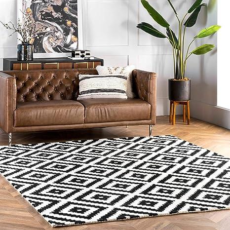 Amazon Com Nuloom Kellee Contemporary Wool Area Rug 5 X 8 Black Furniture Decor