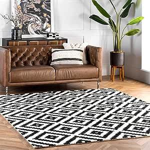 Nuloom Kellee Contemporary Wool Area Rug 12 X 15 Black Furniture Decor