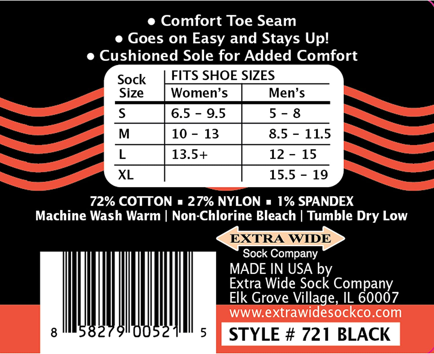Cushioned Sole Loose Fit Stays Up Mens and Womens Casual Crew Socks 3 PK Made in USA