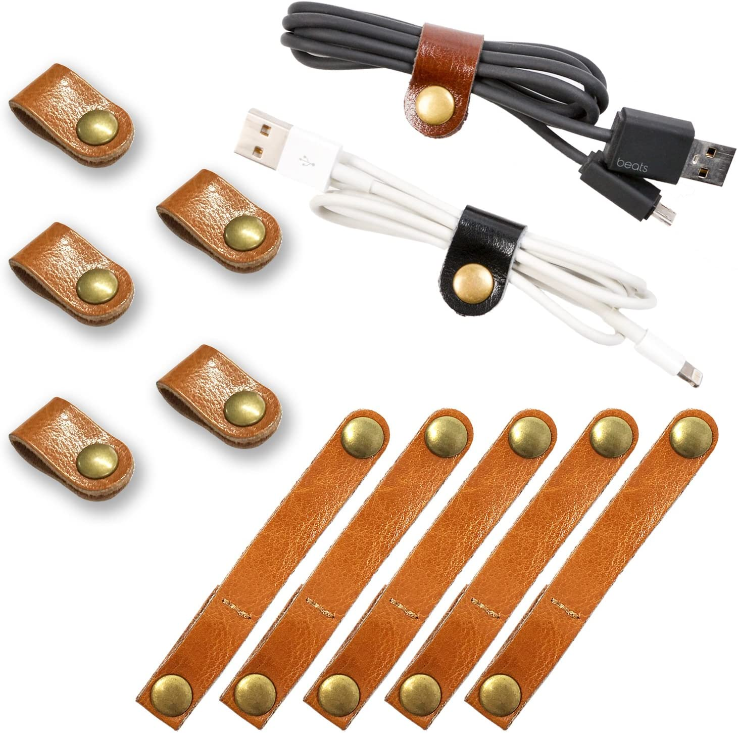 FIBOUND 10pcs Earphone Winder Leather Cable Straps,Cable Ties Leather Cord Organizer,USB Cable Clips,Earphone Winder with Leather Handmade