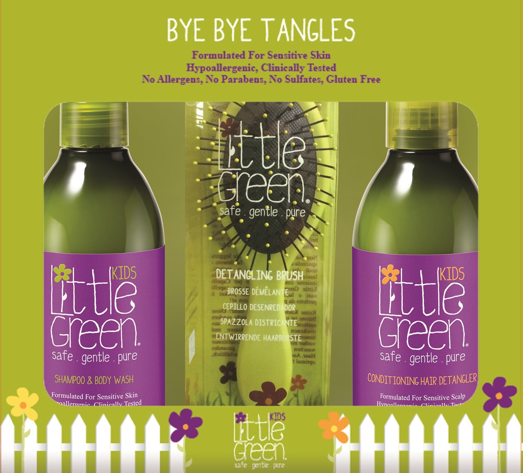 Little Green Detangling Set - Shampoo & Body Wash Conditioning Hair Detangler and Nourishing Body Lotion - Tear-Free Shampoo - Spray Detangler - Non-Toxic & Hypoallergenic - Perfect for Sensitive Skin by Little Green