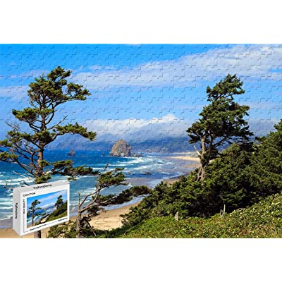 1000 Piece Jigsaw Puzzle - Ecola Point Cannon Beach Oregon Cartoon Large Size Wooden 29.5 X 19.6 Inch: Toys & Games