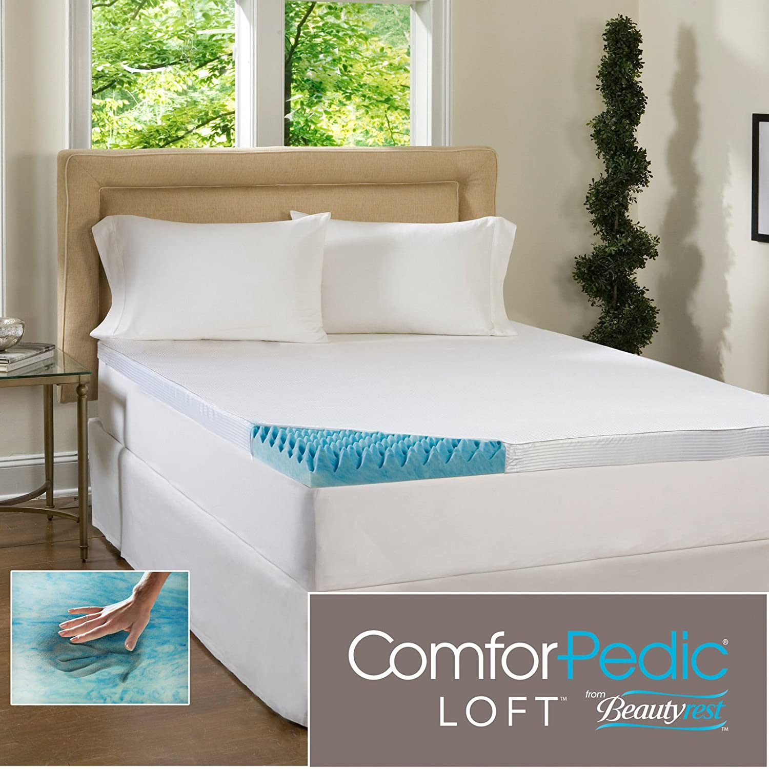 Amazon.com: Beautyrest 4-inch Sculpted Gel Memory Foam Mattress Topper with  Polysilk Cover Queen Size: Home & Kitchen