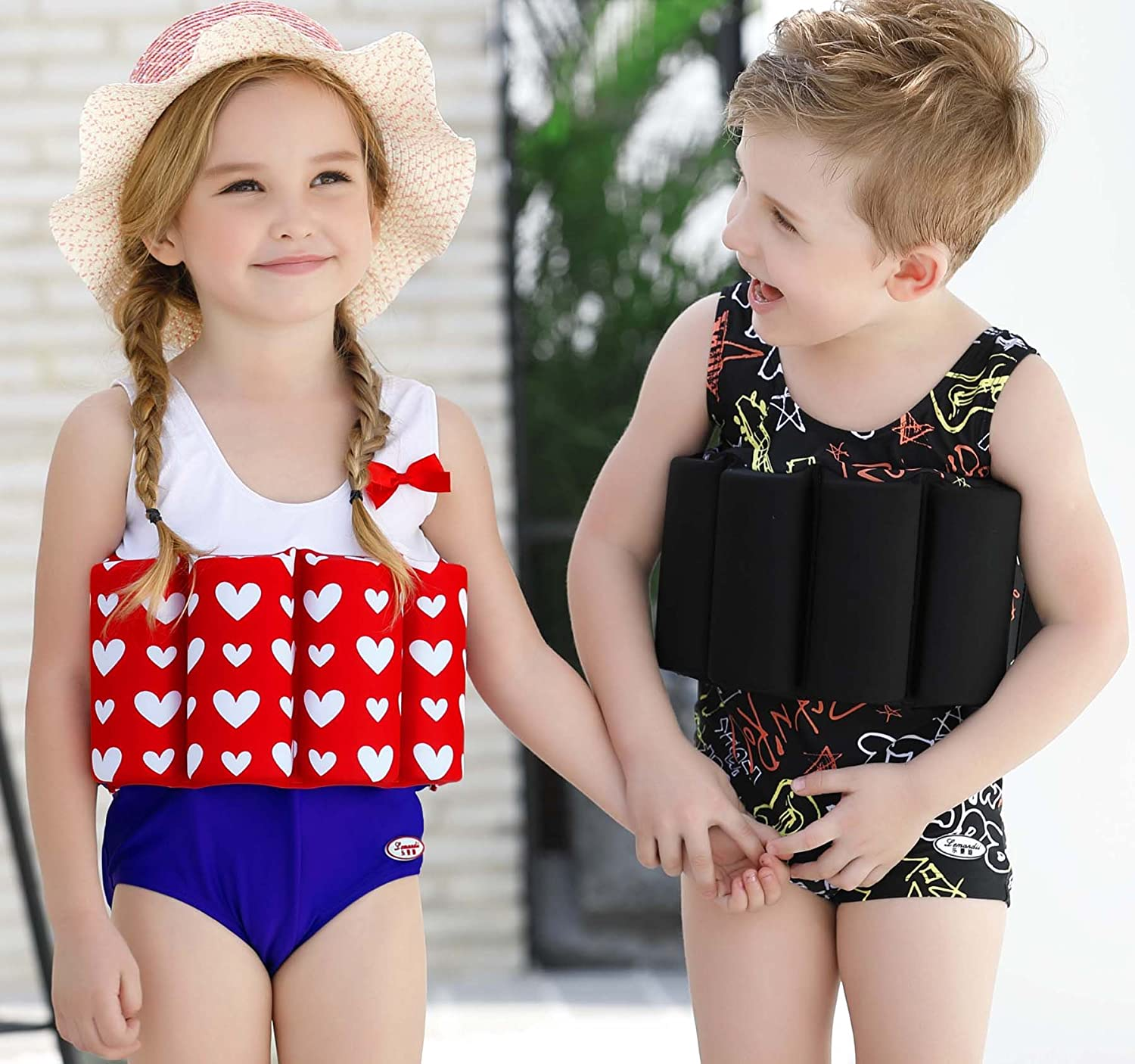 SGMWVB Cute Toddler Swimsuits Float Suit with Adjustable Buoyancy one Piece Swimwear Swimsuit for Boys and Girls