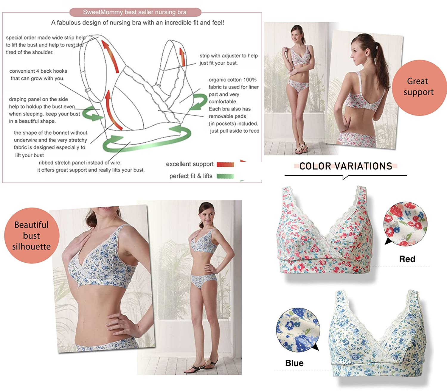 f851a5e6f28ff Sweet Mommy Flower Print Nursing Bra [Made in Japan] (L, Apricot) at Amazon  Women's Clothing store: