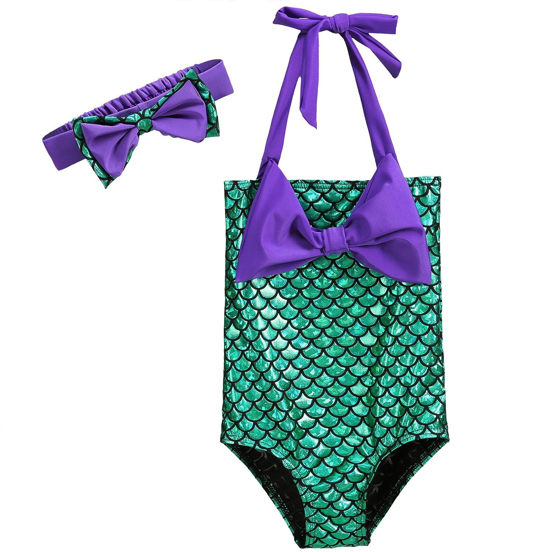 Pettigirl Girls' Lovely Swimming Wear Princess Halter Swimsuit Bowknot 1-11 years SR90119-500F-CA
