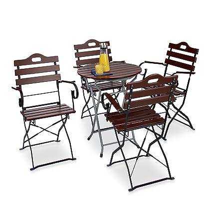 Relaxdays Chaise de jardin pliante lot de 4 en bois rouge brun ...
