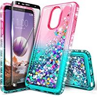 NageBee Case for LG Stylo 5 / LG Stylo 5V with Tempered Glass Screen Protector (Full Coverage) for Girls Women, Glitter Liquid Sparkle Bling Floating Waterfall Durable Cute Phone Case -Pink/Aqua