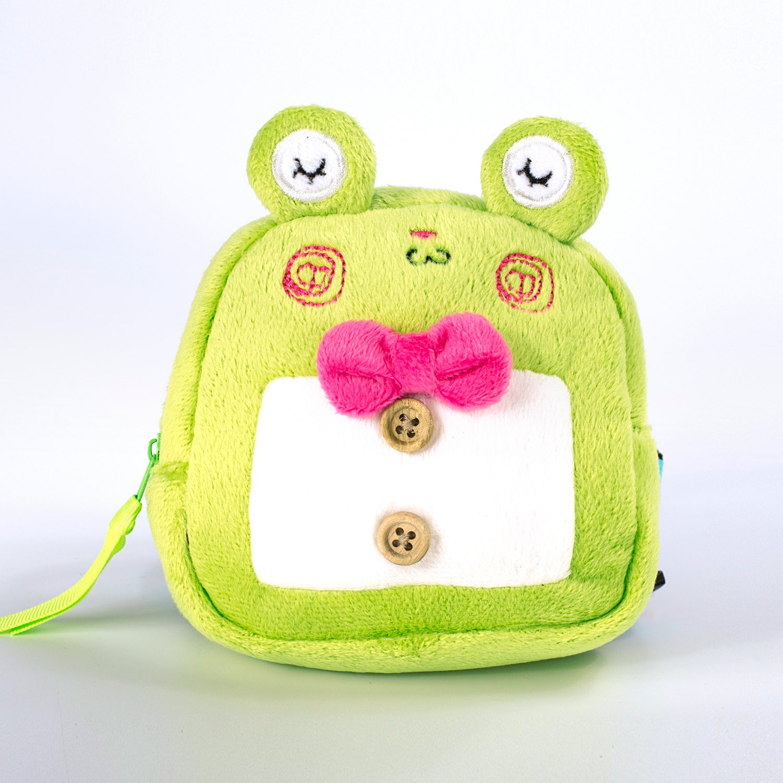 RLONGVI Cartoon dog self backpack Cute multifunction pet traction travel walk (Frog, Small size)