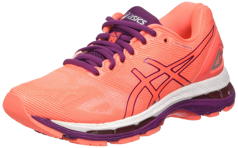 Asics Gel-Nimbus 19, Zapatillas de Running para Mujer 38 EU|Naranja (Flash Coral/Dark Purple/White)