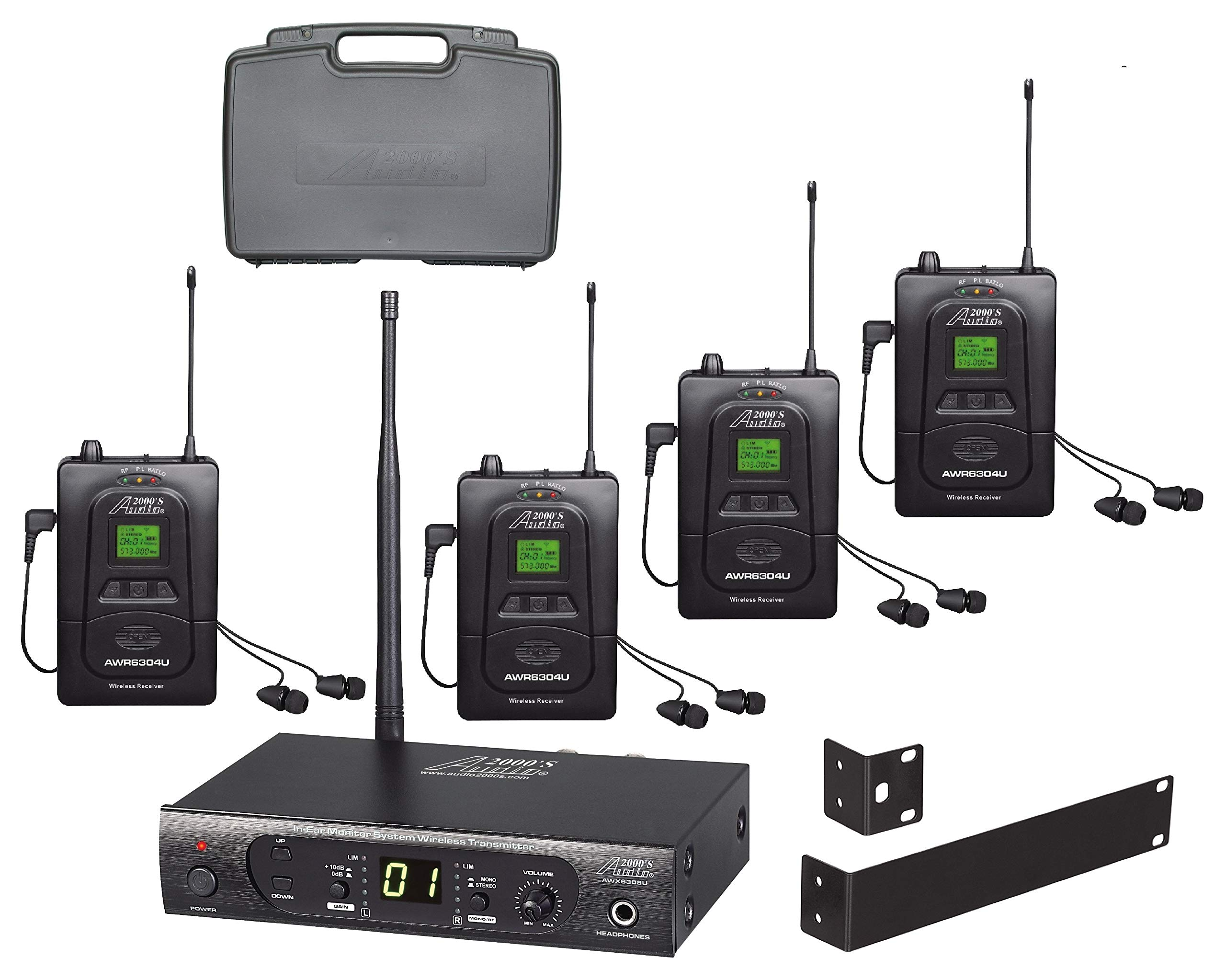 Audio2000'S AWM630AU UHF 100 Selectable Frequency Wireless In-Ear Monitor System with Four Wireless Receivers and a PVC Carrying Case by Audio 2000S