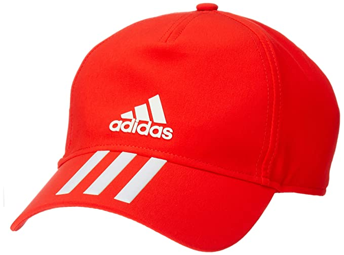75234f36995 Image Unavailable. Image not available for. Colour  Adidas Unisex Red C40 6  Panel 3-Stripes Climalite Cap