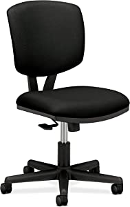 HON H5703.GA10.T Volt Task Chair - Armless Office Chair for Computer Desk, Black Fabric (H5703 )