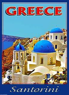 Venez a Grece Greece Santorini Greek European Travel Poster Art Advertisement