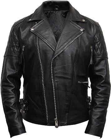 New Fashion Men/'s Brando Real Black Hide Leather Classic Biker Stylish Jacket