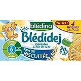 Blédina Blédidej Céréales au Lait de suite Saveur Biscuitée dès 6 mois 4 x 250 ml- Lot de 2