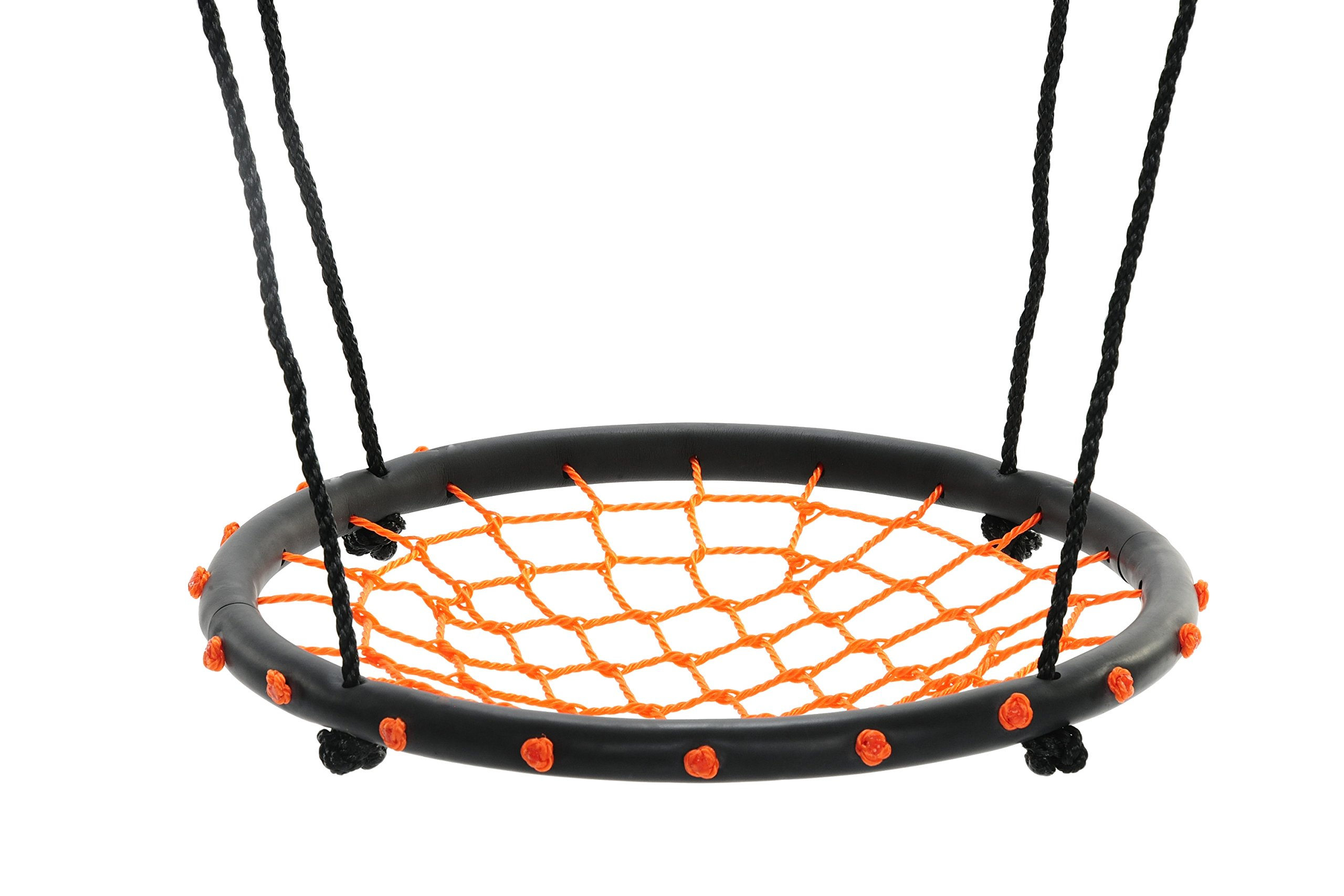 Swinging Monkey Products 24'' Spider Web Playground Swing, Orange – Fun! Easy Install for Swing Set or Tree