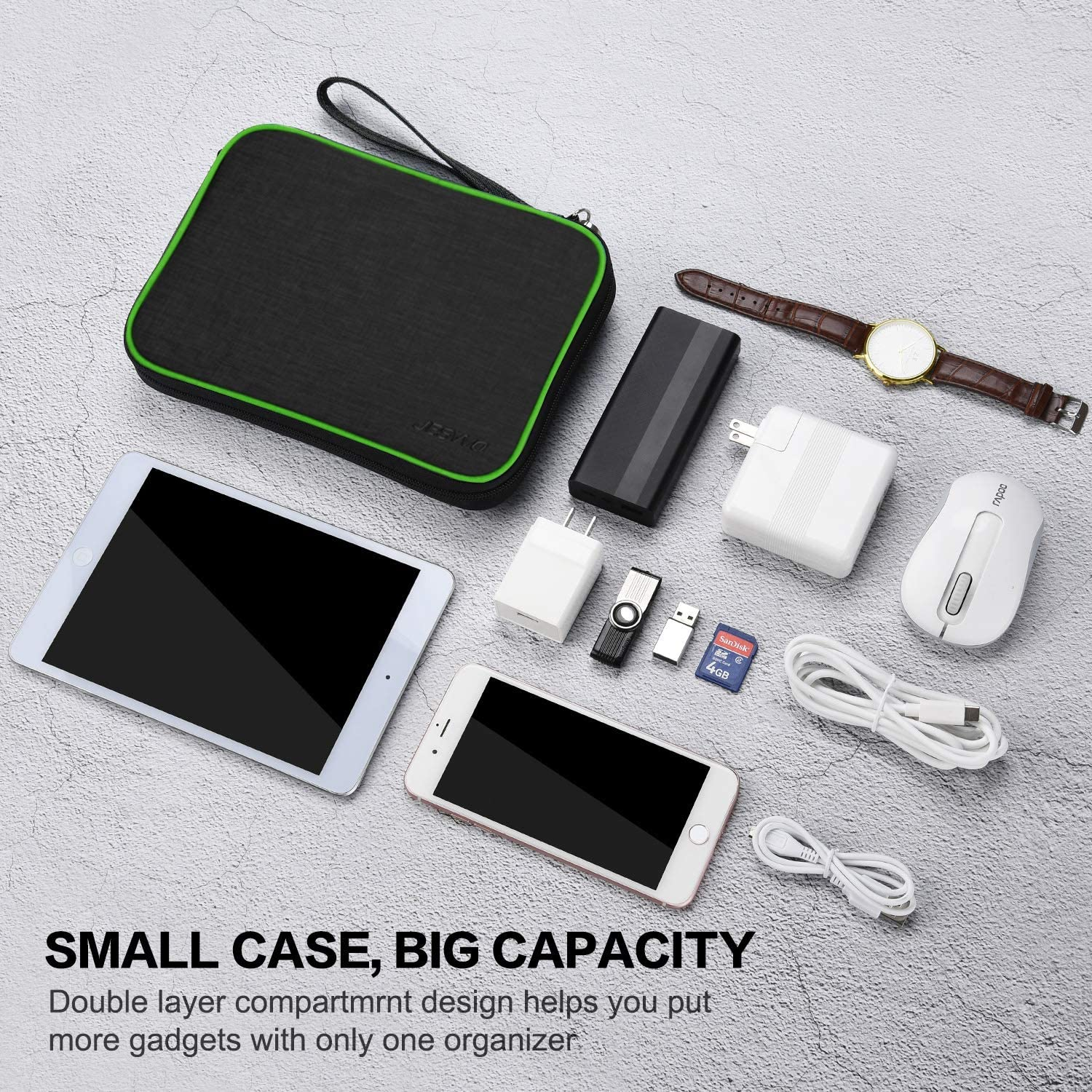 Up to 7.9 Black Charger /& Power Bank Portable Travel Gadget Bag for Cable Electronics Accessories Organizer Bag with Double Zipper SD Card JESWO Travel Cable Organiser Bag iPad