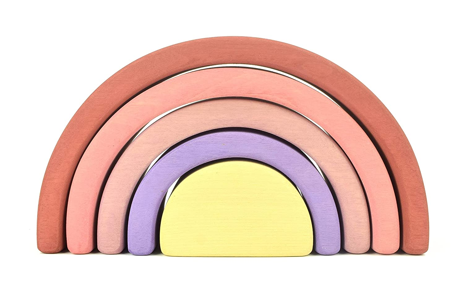 Rainbow Stacker Wooden rainbow stacking toy Building blocks Stacking puzzle Rainbow tunnel Montessori toys Rainbow stacker Waldorf toys for babies Rainbow blocks Sorting Learning 5 pieces Small Pink