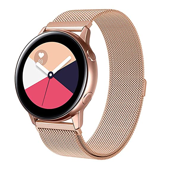 SWEES Compatible Samsung Galaxy Watch Active 40mm Band, 20mm Mesh Milanese Magnetic Adjustable Stainless Steel Metal Replacement Band for Galaxy Watch ...