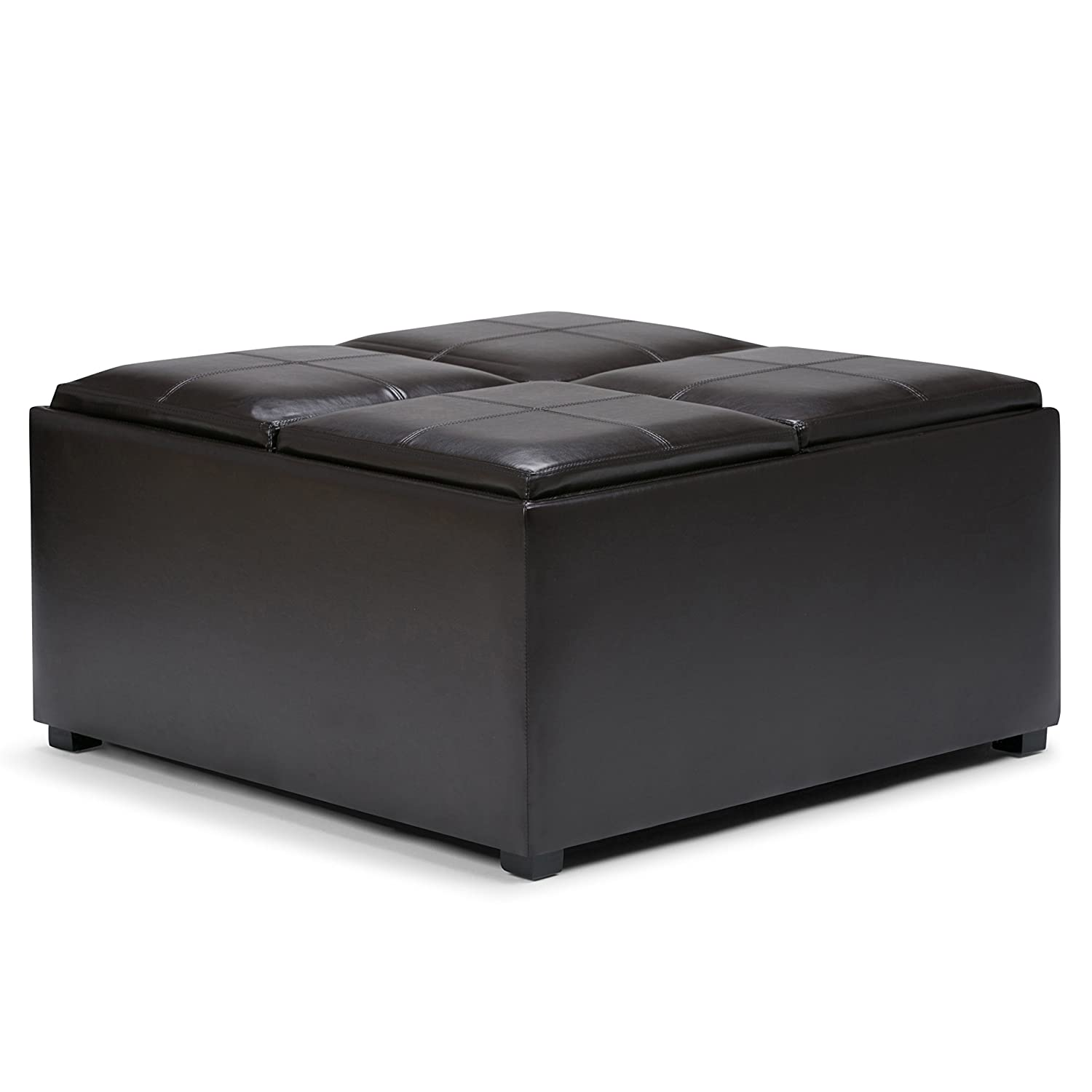 Amazon simpli home avalon coffee table storage ottoman w 4 amazon simpli home avalon coffee table storage ottoman w 4 serving trays pu leather brown kitchen dining geotapseo Choice Image