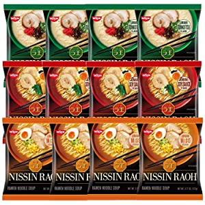 Nissin RAOH Ramen Variety Packs Noodle Soup, Tonkotsu, Soy Sauce, and Miso, Forks Included (Pack of 12)