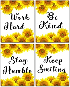 Inspirational Quotes Posters Wall Art - Sunflower Canvas Sayings Painting Classroom Nursery Decorations for Kids Girls Motivational Decor Modern Home Office Artwork Unframed Canvas Painting 8x10inches