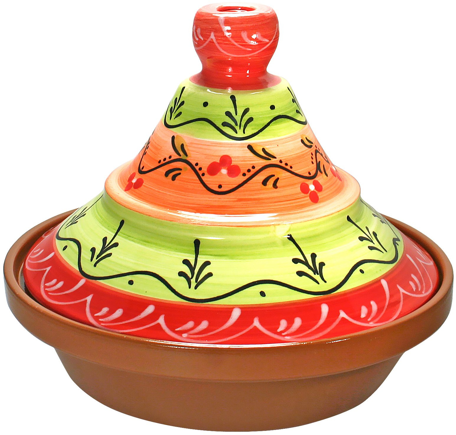 Reston Lloyd Hand Painted Natural Terra Cotta Tagine, 2-Quart, Valencia by Reston Lloyd