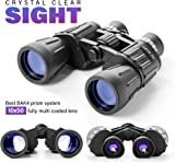 Binoculars 10x50 With BAK4 Prism - Powerful Full-Size Binoculars For Bird Watching, Sports, Sightseeing – Durable, Portable and Waterproof - Fully Coated Lens with Carrying Case Strap and Lens Caps