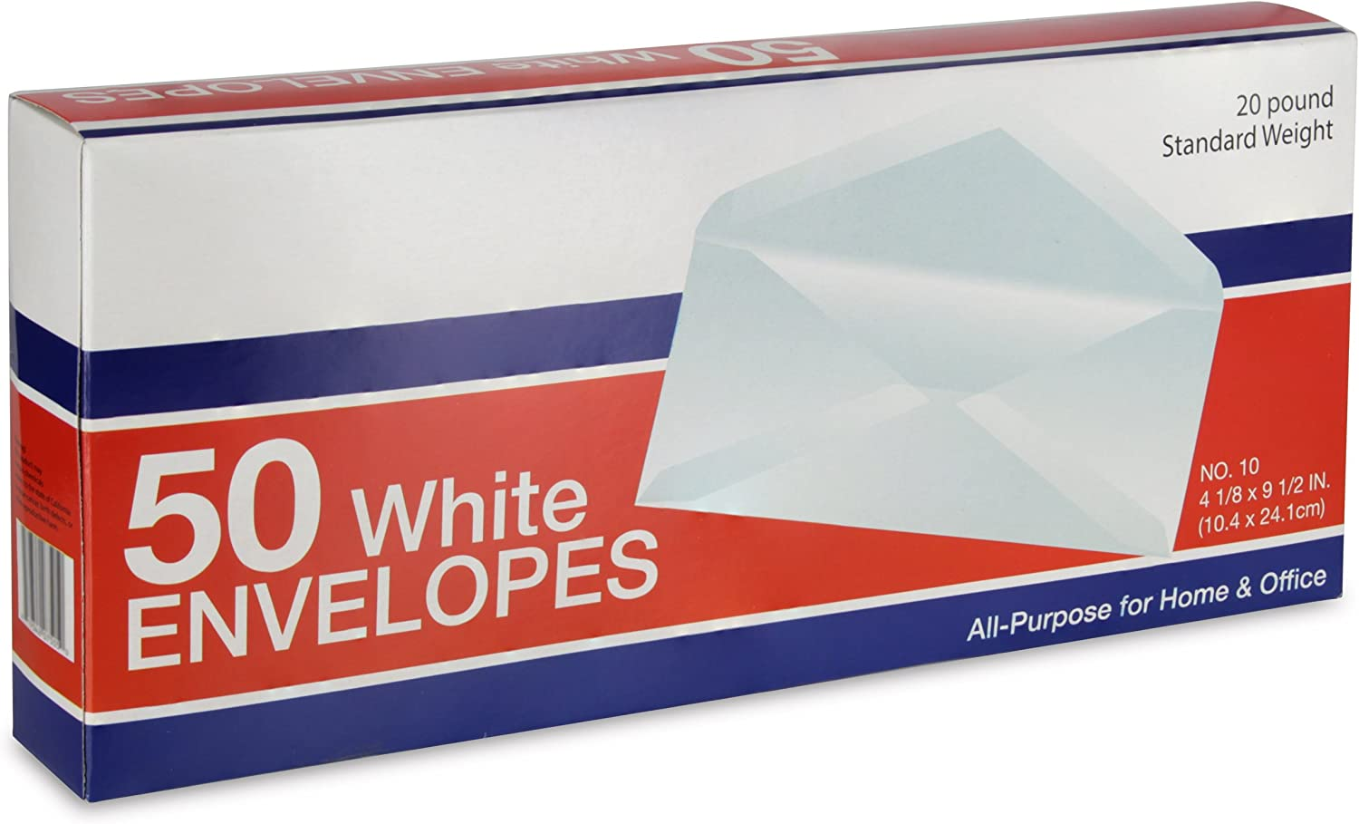 Emraw White All-Purpose Envelopes #10 Business Size 4-1/8 x 9-1/2 Inch - 50/Box - for Office & Home Use