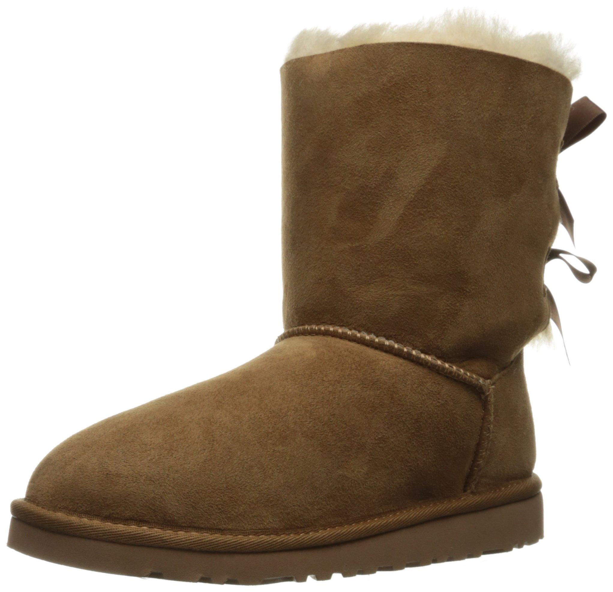 UGG Australia Girls' Bailey Bow Sheepskin Fashion Boot Chestnut 5 M US