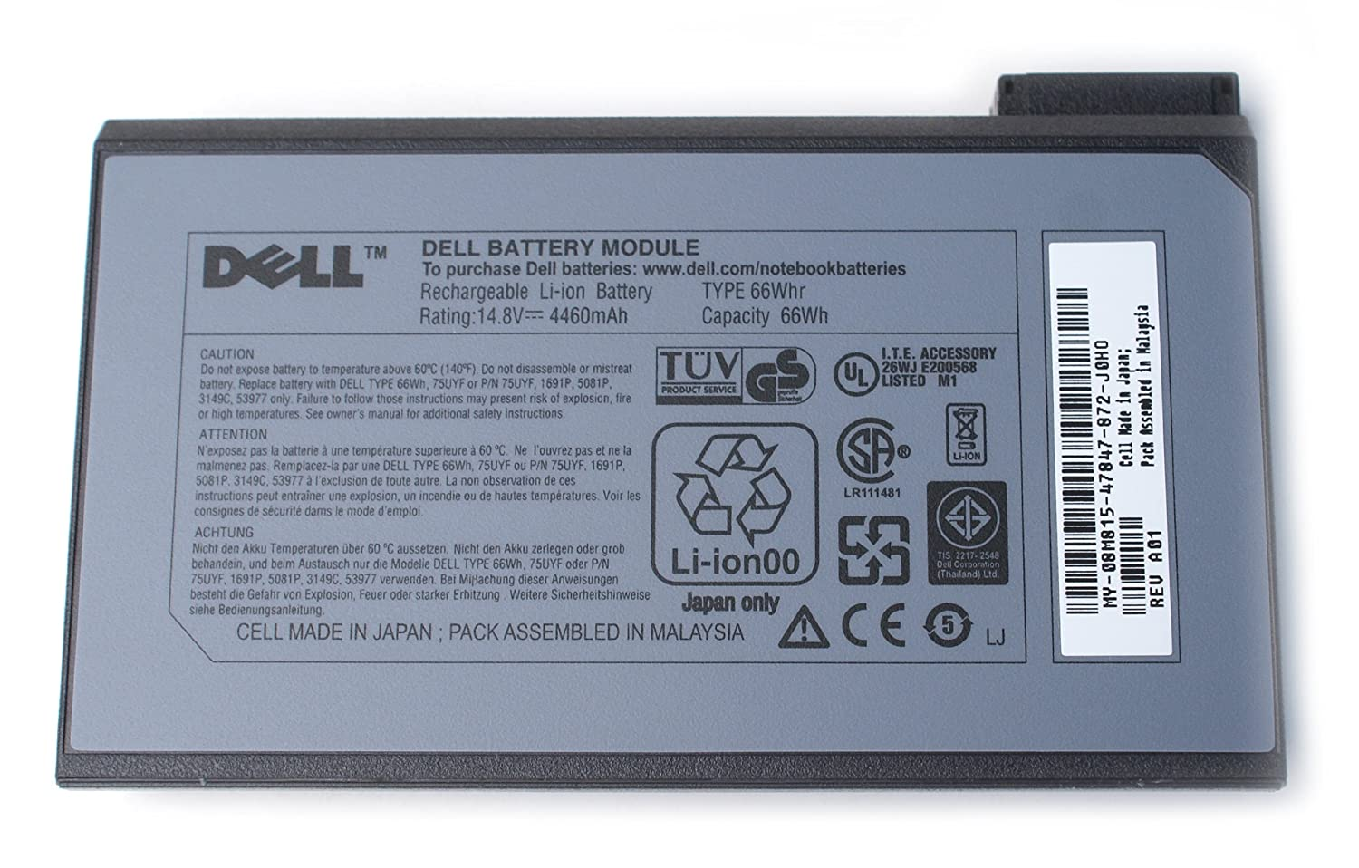 Dell 8m815 Inspiron 2500 Rechargeable Li Ion 148v Type 66whr 8 Cell Removing And Replacing Parts Latitude C600 C500 Series Service Battery For Use With The Following Systems 3700 3800 4000 4100