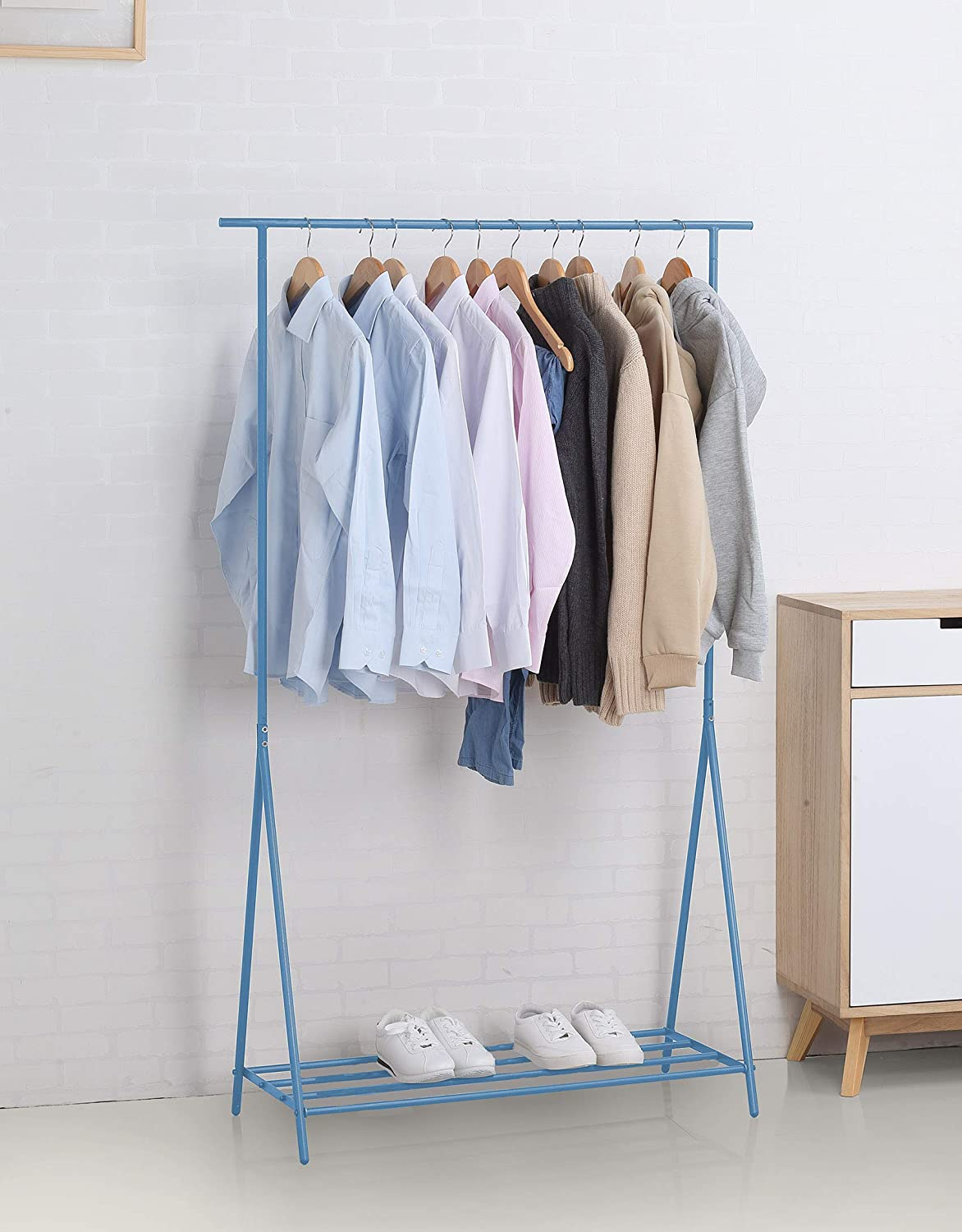 Single Rod L White NEUN WELTEN Caecias Clothing Coat Rack Hanger with an Industrial and Simple Expression Tall