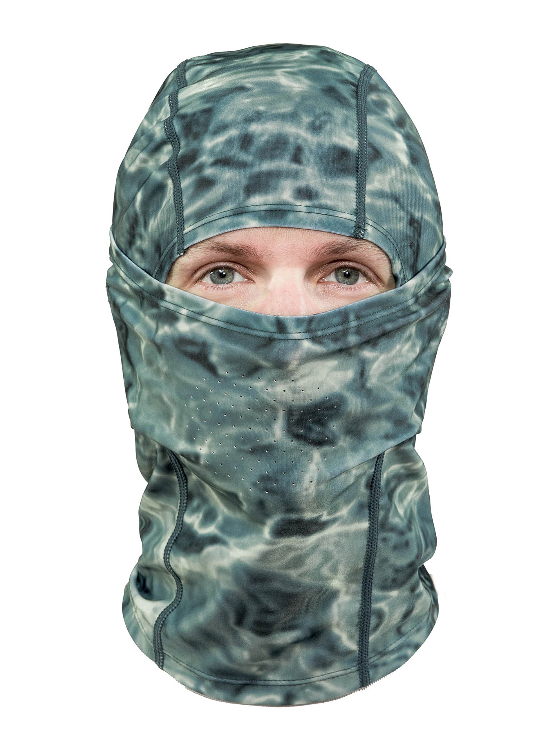 Aqua Design: Cool Weather Mens Face Mask UPF50+ Sun Wind Helmet Liner Balaclava: Misty Sky