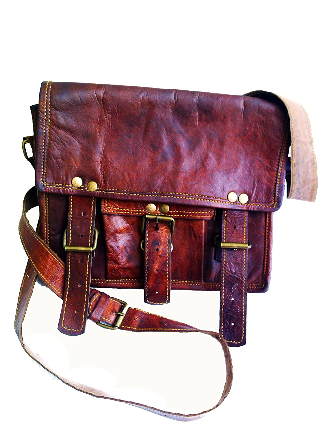 Men's Real Genuine Leather Cross Body Messenger Shoulder Passport Bag Ipad / Tablet Satchel Bag