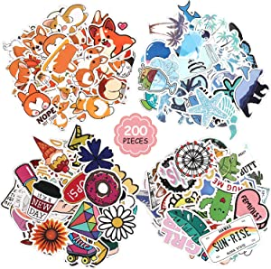 200 Pieces Mixed Stickers for Water Bottles Vinyl Stickers Cute Aesthetic Stickers Laptop Decals for Guitar, Luggage, Teens, Girl