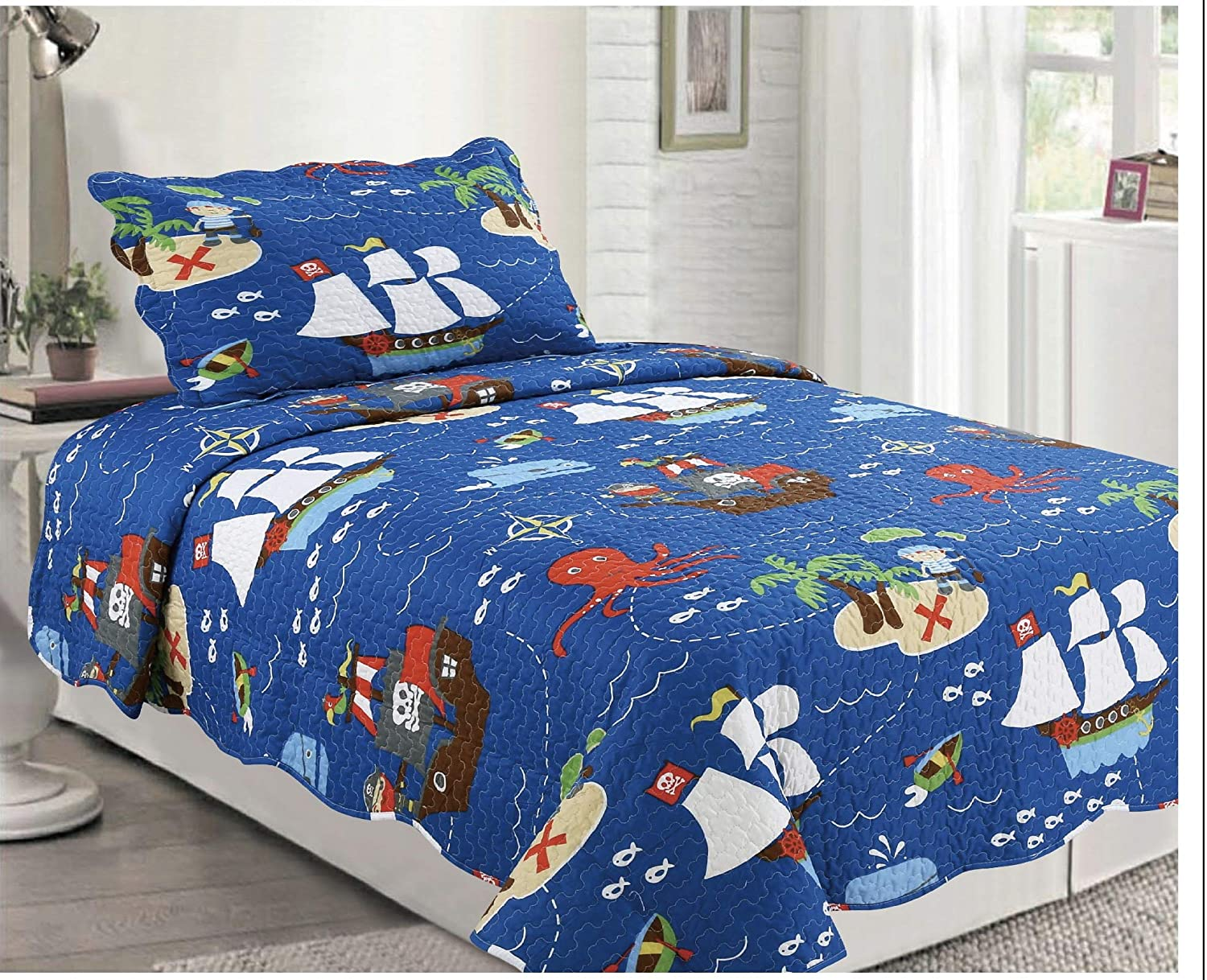 Elegant Home Multicolor Pirates Ships Ocean Sea Themed Design Style 2 Piece Coverlet Bedspread Quilt for Kids Teens Boys Twin Size # 062
