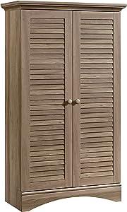 "Sauder 416825 Harbor View Storage Cabinet, L: 35.43"" x W: 16.73"" x H: 61.02"", Salt Oak finish"