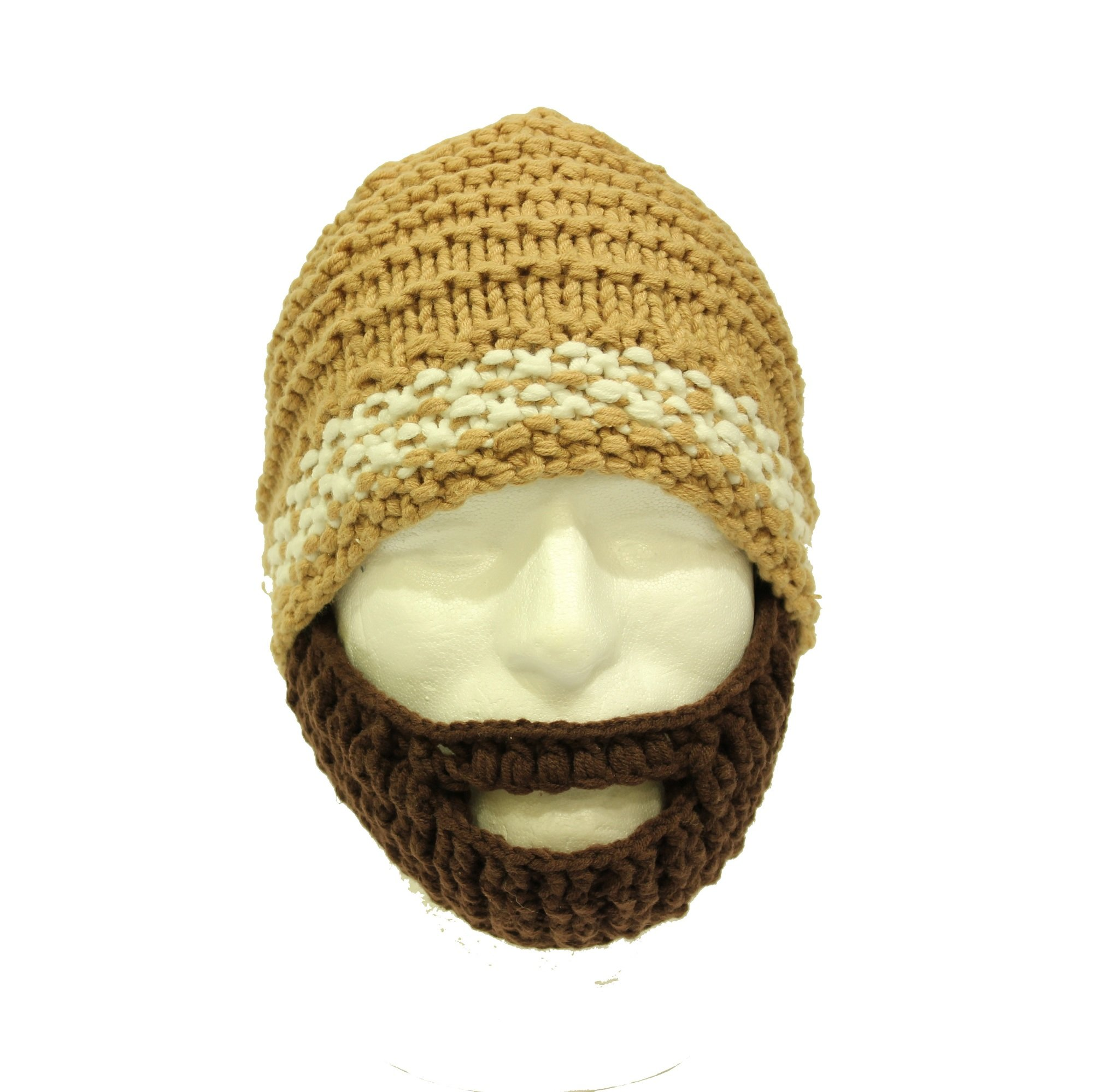 f6825a99b Knitted Beard Hat, Hand Knitted Bearded Beanie Hat, with Brown Beard