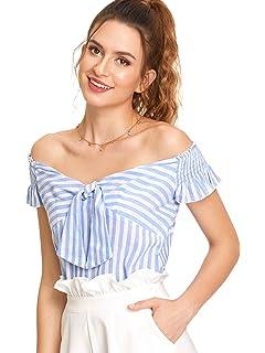 caf08945044 WDIRARA Women's Short Sleeve Knot Front Shirred Ruffle Sleeve Bardot Top  Blouse