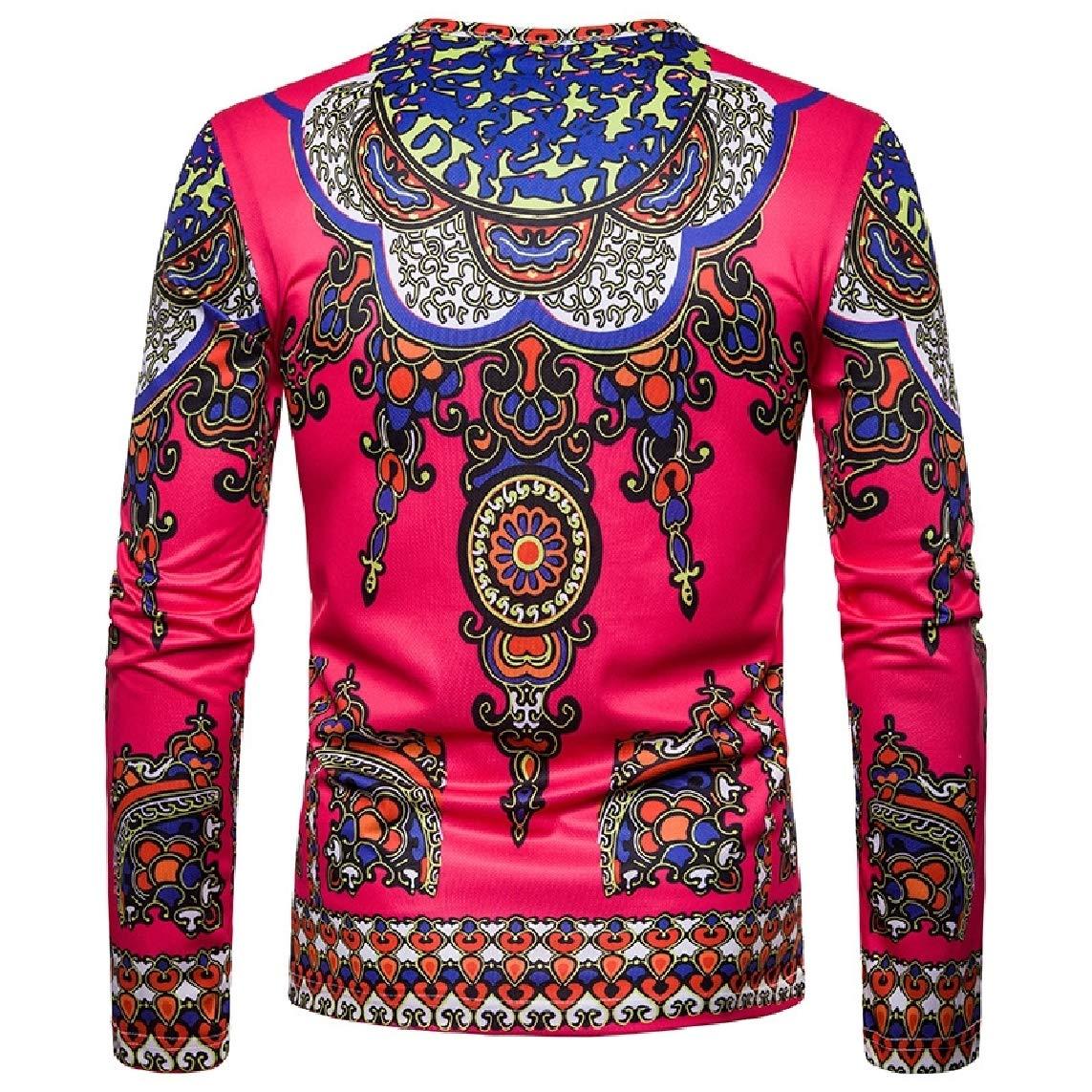 LinkShow Mens Fashion Dashiki African Long-Sleeve Navajo Floral Crew Neck 3D Tees Top