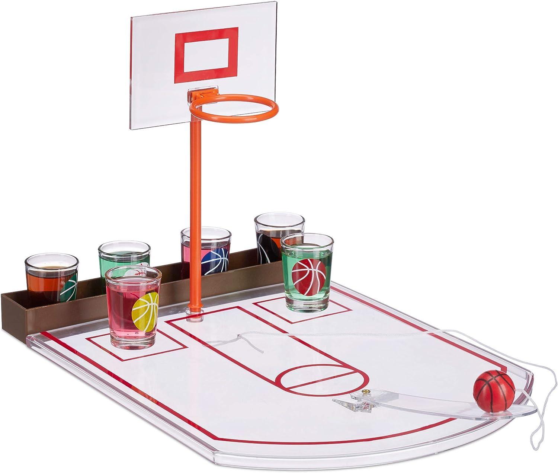 Relaxdays Juego Chupitos Baloncesto, 6 Vasos, Mini Canasta y Pelota, Plástico-Cristal, 22,5 x 24 x 44 cm, Transparente, Adultos Unisex: Amazon.es: Deportes y aire libre