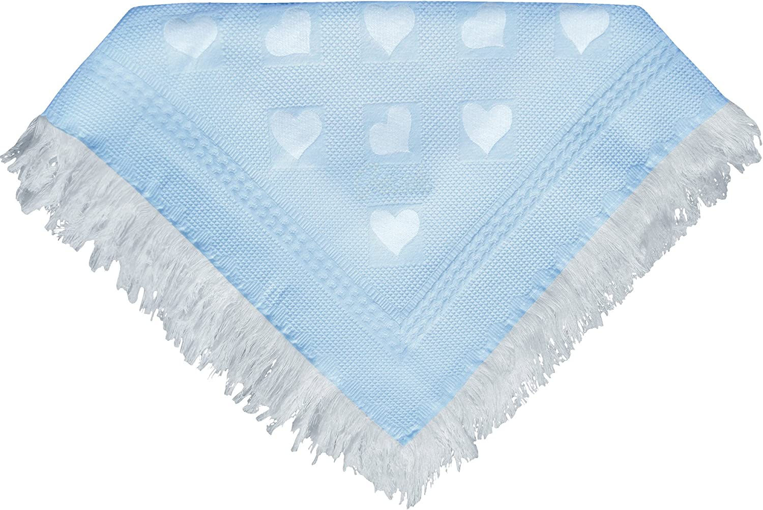 Baby Super Soft Large Shawl Blanket with Hearts Blue