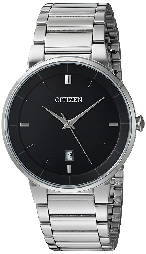 a18553258cb5 Buy Citizen Quartz Movement Analogue Black Dial Stainless Steel Men s Watch  Online at Low Prices in India - Amazon.in