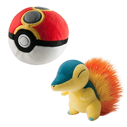 TOMY Pokemon Plush Figure Cyndaquil with Repeat Poke Ball 15 cm Peluches
