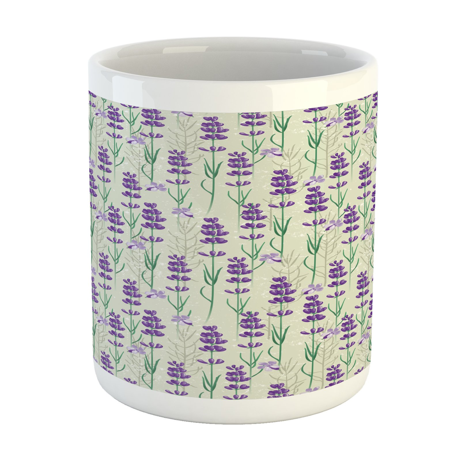 Ambesonne Lavender Mug, Botanical Pattern with Fresh Herbs Aromatherapy Spa Theme, Printed Ceramic Coffee Mug Water Tea Drinks Cup, Pale Sage Green Violet and Green