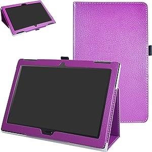 "Lenovo Moto tab X704A Case,Mama Mouth PU Leather Folio 2-Folding Stand Cover with Stylus Holder for 10.1"" Lenovo Moto tab X704A / Lenovo Tab 4 10 Plus Tablet,Purple"