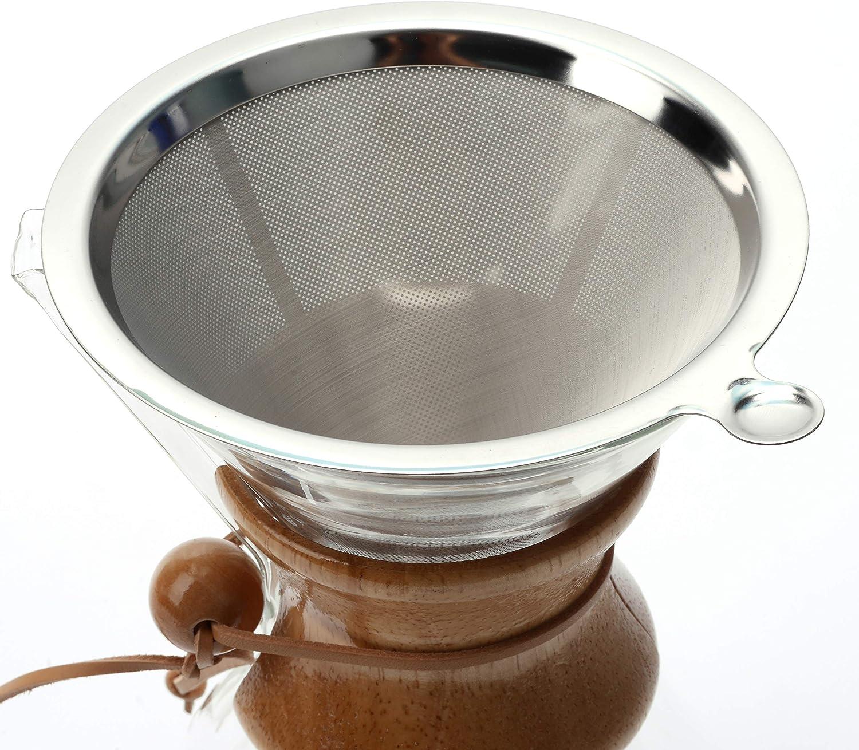 Cafetera de cuello de madera con filtro permanente y almohadilla posavasos 400 ml
