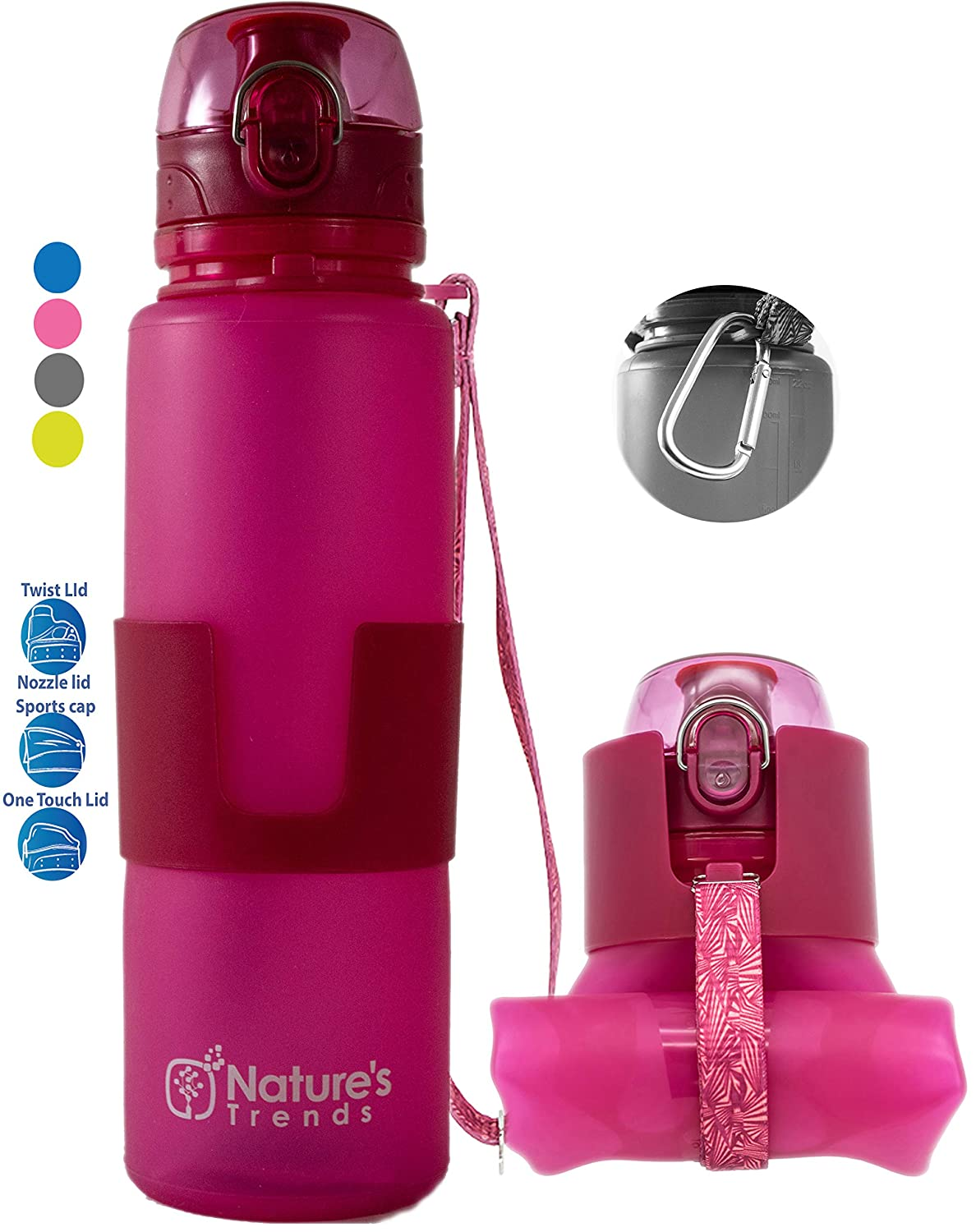 Compact Leakproof Water Bottle Lightweight Silicone Water Bottle Foldable Gym Bottles Portable Bottle Travel Natures Trends Collapsible Water Bottle BPA-Free Eco Hiking Bottle